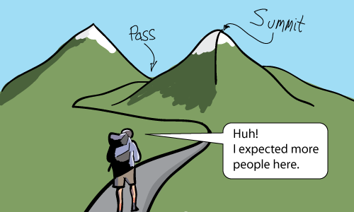 Hiker looking for people at a mountain pass and mountain summit.
