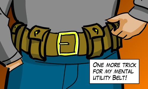 Opening a pocket on a utility belt.