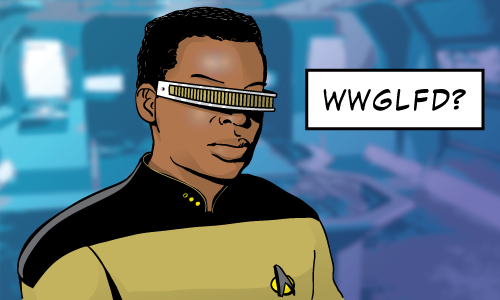 Picture of Geordi Laforge captioned W W G L F D