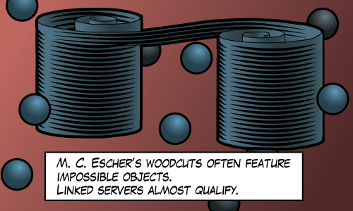 Maybe not impossible, but linked servers are rarely part of a good solution